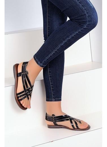 Pembe Potin A2105-19 Kadın Sandalet Siyah